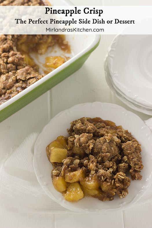 If you love roasted pineapple or fruit crisps this is the dish for you! The flavor of buttery roasted pineapple with a hint of cinnamon was made to be turned into a fruit crisp with a crunchy brown sugar topping. Serve this with vanilla ice cream for dessert or as a pineapple side dish next to ham for an Easter treat!