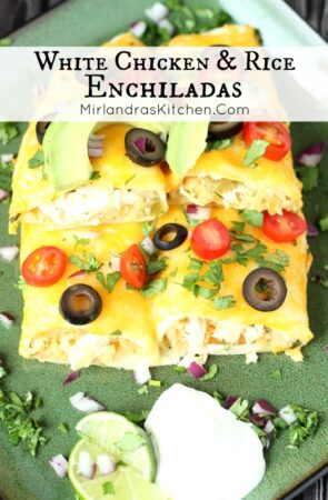 Simple and creamy, these White Chicken and Rice Enchiladas are an easy dinner everybody will love!