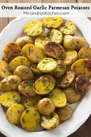 These Garlic Parmesan Potatoes have that perfect mix of garlic, butter, cheese and seasonings. They are a quick side dish to toss together for a weeknight dinner or a holiday meal. Adding the butter at the end gives them SO much extra flavor.